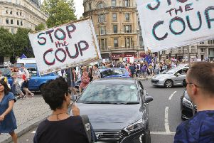 Protests took place in London and around the country this weekend at the decision to prorogue Parliament. Picture: PA