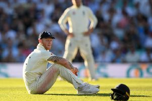 LONDON, ENGLAND - SEPTEMBER 15:  Ben Stokes of England looks on  during Day Four of the 5th Specsavers Ashes Test between England and Australia at The Kia Oval on September 15, 2019 in London, England. (Photo by Alex Davidson/Getty Images)