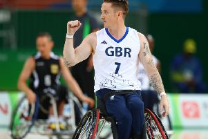 Three-time Paralympic bronze medallist Terry Bywater of Great Britain celebrates after scores two points during Wheelchair basketball match against Germany during Rio 2016 Paralympics at Carioca Arena 1 on September 11, 2016. (Picture: Lucas Uebel/Getty Images)