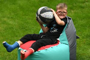 Five-year-old Lewis Connett from Halifax, who was born with the rare genetic condition Apert Syndrome, which means that many of his bones were fused including his skull, fingers and toes. He is now raising awareness of Jeans for Genes. Picture Jonathan Gawthorpe