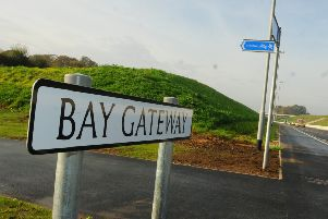 LANCASTER and MORECAMBE  31-10-16'General view of Bay Gateway sign.'Celebrations at the opening of the Bay Gateway, the new M6 link road, Heysham, developed by Costain. Local delegates were invited onto the road before it opened to traffic.