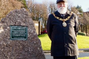 The Mayor of Lancaster, Councillor Roger Mace, next to the plaque at the Miss Whalley Field centenary event in Lancaster. Picture by Richard Evans.