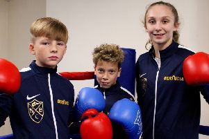 Newbiggin Boxing Club members Brandon Moscrop, Nathan McEvoy and Alex Brown in their new Bernicia tracksuits.
