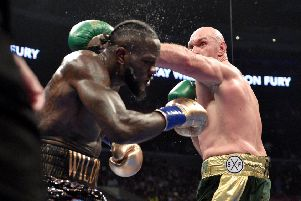 Top bout: Deontay Wilder and Tyson Fury during the WBC Heavyweight Championship fight at the Staples Center.