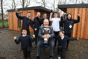 Photo Neil Cross'Ex-rugby player Bill Beaumont and Honorary President of the Wooden Spoon Charity visiting Morecambe Road School to officially open the Garden Rooms