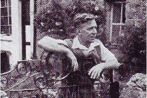 Blacksmith: Mr Robert Taylor the third generation of the Taylor family at his home at Green Smithy in 1957. The design of the gate made by Mr Taylor includes the name of the hamlets, his initials and two symbols of his craft-a horse -shoe and the outline of an anvil.