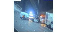 Photo of the recovery operation after a crash on the M1. Pic: Highways England.