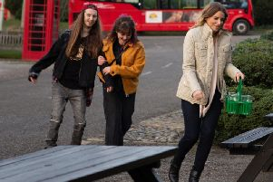 Rachael Gill-Davis (pictured middle) plays Gail in Emmerdale debut. She is pictured in a scene with characters Ryan Stocks and Charity Dingle.