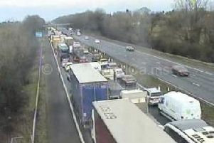 A diesel spillage on the M6 between junction 16 (Crewe) and 17 (Congleton) has forced police to close the carriageway.