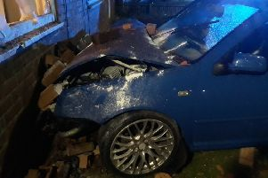 The car that crashed into a house in Sixth Avenue, Blyth, last night.