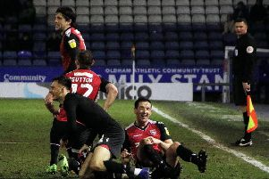 Aaron Collins celebrates his winning goal.