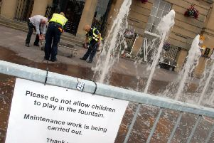 The fountains in Mansfield Market Place