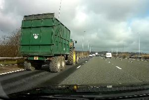 The tractor was travelling at around 40mph on the M6 northbound near junction 31 (Preston, Longridge) on Monday, March 11.