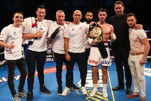Eddie Hearn (second from right) with Sunderland welterweight Josh Kelly (third from right).