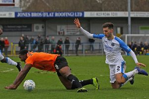 The match-changing decision in stoppage time revolved around this challenge on Jerome Bimmom-Williams. A penalty was awarded and Scott Boden scored from the spot.