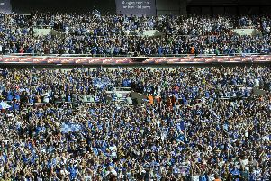 Chesterfield fans celebrate at Wembley