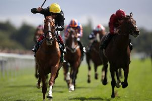 Stradivarius ridden by Frankie Dettori (left) wins the Weatherbys Hamilton Lonsdale Cup Stakes.