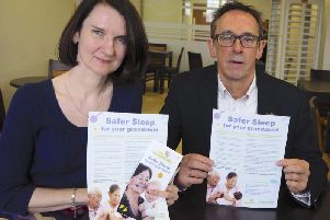 Dr Nicola Bamford and Mike Leaf with the Safer Sleep campaign literature