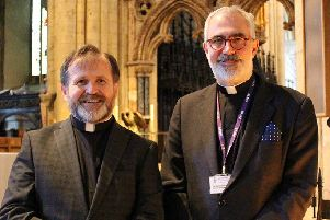 Michael Everitt with Michael Hampel, Vice-Dean and Canon Precentor of Durham Cathedral.