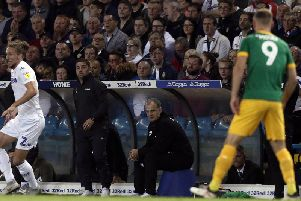 Leeds boss Marcelo Bielsa watches his side's clash with Preston at Elland Road in September