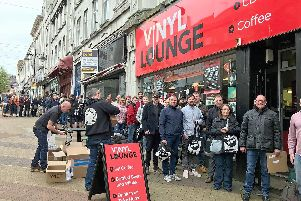 Fans queue up outside Vinyl Lounge for Record Store Day 2018.