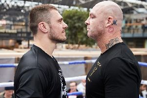 Dave Allen and Lucas Browne face off. Picture: Mark Robinson.