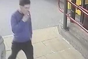 Officers believe the man shown in this CCTV image may have information regarding two separate assaults on a train at Carnforth station at 9.30pm on Saturday, April 6