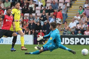 Vadaine Oliver opened the scoring for Morecambe against Cheltenham Town on Easter Monday