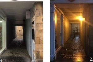 Music Room Passage in Lancaster during the day and at night