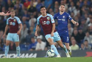 Burnley's Jack Cork and Chelsea's Jorginho''Photographer Rob Newell/CameraSport''The Premier League - Chelsea v Burnley - Monday 22nd April 2019 - Stamford Bridge - London''World Copyright � 2019 CameraSport. All rights reserved. 43 Linden Ave. Countesthorpe. Leicester. England. LE8 5PG - Tel: +44 (0) 116 277 4147 - admin@camerasport.com - www.camerasport.com