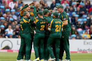 The Notts Outlaws' bowlers maintained a tight grip on the game.