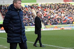Rovers boss Grant McCann with ex-manager Darren Ferguson