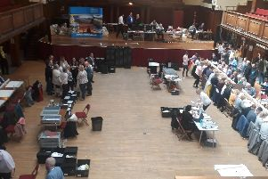 The count is under way at Lancaster Town Hall.