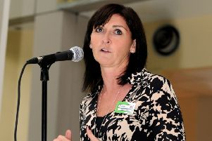 Date:4th October 2011.'Judith McKenna, Asda's chief operating officer, addressing colleagues at the launch of the 2012 Jane Tomlinson's Run For All series at Asda House, Leeds.