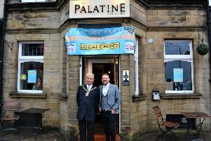 Councillor David Whitaker, mayor of Lancaster, with Morecambe Music Festival founder Stuart Michaels outside the Palatine, venue for the launch night. Photo:Andy Slack.