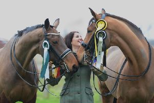 Belton rider Amanda Barrett has qualified for the British Dressage Championships with her two horses l-r Fine and Dandy, and Fiderico.