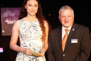 Lorna Parry with Alan Cavill , chairman of the B&FC Board