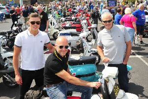 Jacob Robertson, Jon Wallbank and Rob Robertson from First Kick, Morecambe at the Morecambe Rides Again Scooter Rally