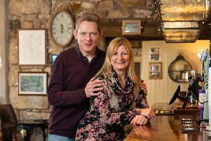 2G: Licensees Bill (48) and Victoria (50) Johnston have been running the Canal Turn pub in Carnforth near Lancaster, for eight months, January 22 2019.
