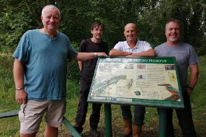 Councillor Philip Shields, Steve Horne of the Warsop Footpaths and Countryside Group, Andy Chambers, MDC parks development officers, and Andy Hollis of the Ecological Environmental and Social Regeneration group.