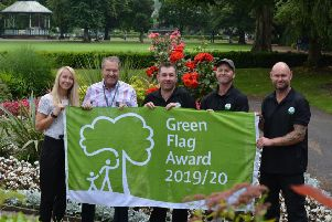 Hall Leys Park in Matlock has been recognised  as one of the best in the world by the international Green Flag Award Scheme for a 12th consecutive year. From left, Derbyshire Dales District Council community development manager Becky Bryan, council leader Garry Purdy, parks team members Ian Buxton, Paul Marsden, and Scott Palmer.