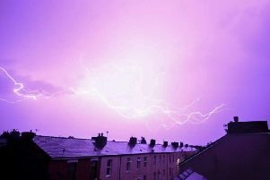 Lightning above the rooftops of Preston on July 24. Credit: Sonia Bashir