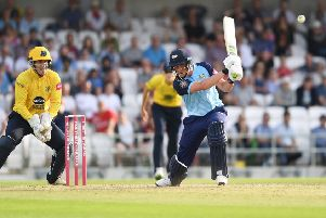 Yorkshire Vikings' Tom Kohler-Cadmore scores the final run to secure a tie against Birmingham at Headingley. Picture: Anna Gowthorpe/SWpix.com