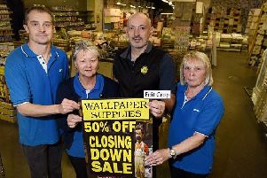 Closing down, from the left, Pete Lawson, Sue Lever, Chris Bracek and Joyce Pirir of Wallpaper Supplies