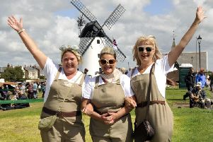Land girls on Lytham Green at a previous Wartime Weekend