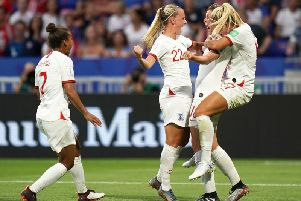 The Lionesses celebrate a goal at the FIFA Women's World Cup
