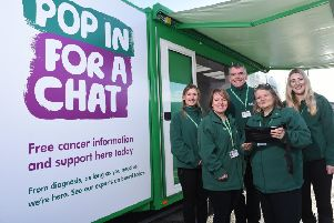 Macmillan's mobile cancer information team are visiting Lancaster and Carnforth offering free cancer information and support.