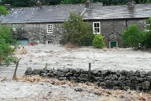 The flash floods hitting Whaw, a hamlet in Arkengarthdale. Picture courtesy of Arkengarthdale Parish Council.