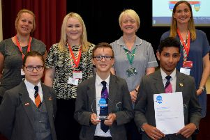 Award winners: Staff and students from Thornhill Community Academy with staff from Diabetes UK.