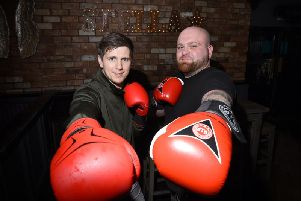 Alex, right, with boxing trainer Dave Morris
